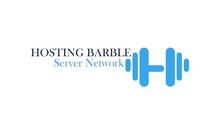 Hosting Barbell . Logo With H Letter With A Blue Barbell