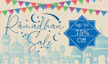 Sales Design For Promotion In The Month Of Ramadan. The Background Is A Mosque With A Gradient And Colorful Festival Flags