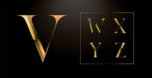 Realistic Gold Alphabet. Hand Crafted Serif Font With Rust Effects. Gold Roman Textured Uppercase. Elegant Typeset.