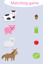 What They Eat, Matching Game With Farm Animals For Children, Fun Education Game For Kids, Educational Task For The Development Of Logical Thinking, Preschool Worksheet Activity, Illustration