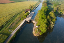 Lock Of Ravereau Seen From The Sky In Merry-sur-Yonne , Nivernais Canal, In Yonne Department , Bourgogne-Franche-comté Region, France.