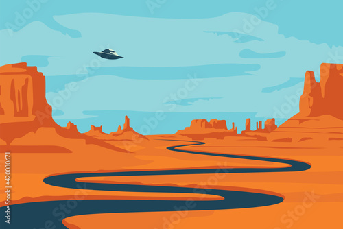 Vászonkép Vector landscape with deserted valley, mountains, dark winding river and flying saucer in the sky