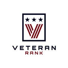 Initial Letter V Veteran Rank Medallion Logo Design Vector