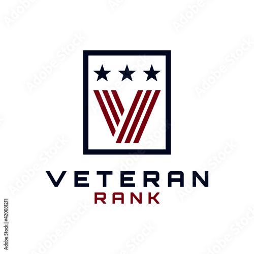 Slika na platnu Initial Letter V Veteran Rank Medallion Logo Design Vector