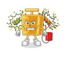 Dynamite Detonator Anime Angry Vector. Cartoon Character