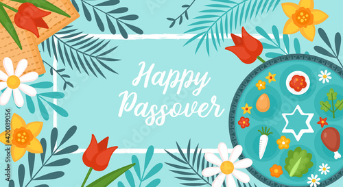 Fotografie, Obraz Passover Pesach holiday banner design with matzah, seder plate and spring flowers