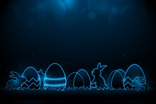 Little Bunny With Decorated Easter Eggs On The Grass. Futuristic Technology Concept In Dark And Blue Light. Vector Illustration