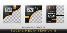 Set Of Editable Social Media Post Template For Ramadan. Social Media Banner For Digital Marketing. Vector Illustration