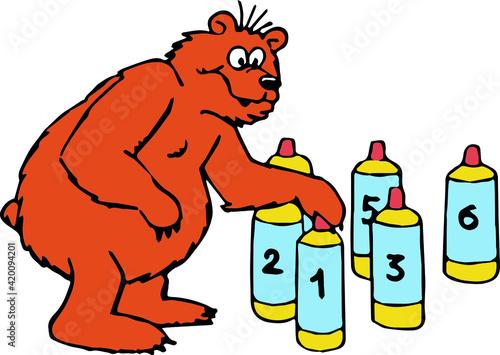 Fényképezés Vector drawing of a brown bear looking numbered skittles