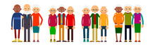 Old People In Groups Of Three Standing In Row. Elderly Men And Women Europeans And African American Ethnic Friends. Senior Stand And Hug Each Other. Set Happy Seniors. Illustration Isolated