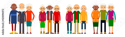 Obraz Old people in groups of three standing in row. Elderly men and women europeans and african american ethnic friends. Senior stand and hug each other. Set happy seniors. Illustration isolated - fototapety do salonu