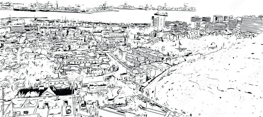 Fototapeta Building view with landmark of  Las Palmas is the  city in Spain. Hand drawn sketch illustration in vector.