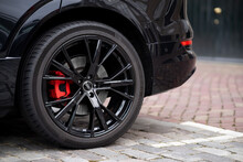 Car Wheel And Tire Red Breaks Vehicle Black Sport Alloy Shiny Automobile