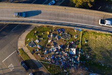 Aerial Images Of Homeless Camps In Sacramento.