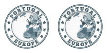 Portugal Round Logos. Circular Badges Of Country With Map Of Portugal In World Context. Plain And Textured Country Stamps. Vector Illustration.