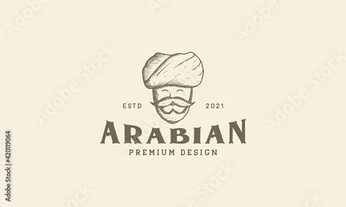 Fotografia engrave old man with turban logo symbol vector icon illustration design