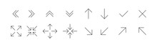 Black Thin Line Arrows Icon Set. Arrows Collection. Full Screen Icons. Website, App Concept. Line Symbols Set. Thin Line Icons. Vector Grapic.