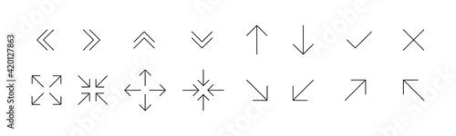 Fotografia, Obraz Black thin line arrows icon set