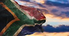 Retro Flag Of South Africa  With Grunge Texture Waving In The Wind. 3d Illustration