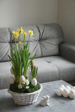 Spring Home Interior With Easter Tree And Vase With Painted Eggs. Quarantine. Self Isolation. Domestic Life.