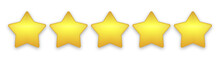Realistic Golden Rating Star Set. Five Gold Stars Review Concept Symbol. Isolated Quality Product Stars Icons On White Background. Modern 5 Premium Yellow Stars Feedback With Shadow. Vector Design Ill