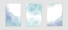 Collection Of Abstract Dusty Blue Liquid Watercolor Background With Golden Stains And Frame. Pastel Marble Alcohol Ink Drawing Effect. Vector Illustration Design Template For Wedding Invitation