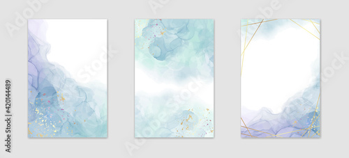 Fototapeta Collection of abstract dusty blue liquid watercolor background with golden stains and frame. Pastel marble alcohol ink drawing effect. Vector illustration design template for wedding invitation obraz
