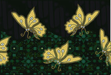 Indonesian Batik Motifs With Very Distinctive Patterns Of Plants And Butterflies