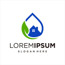 Green House With Water Drop Logo Design Vector.