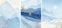 Abstract Arrangements. Landscapes, Mountains. Posters. Blue, Navy, Gold, White Watercolor Illustration, Background. Modern Print Set. Wall Art. Business Card. Printable. Pastel.