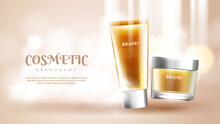 Skin Care Product Ads On Glittering Background