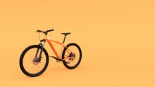 Orange Mountain Bike Bicycle Isolated On Yellow Background