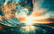 Leinwandbild Motiv Ocean Wave sunset sea surfing background