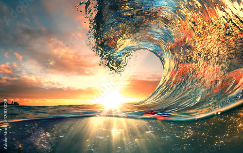 Ocean Wave sunset sea surfing background - fototapety na wymiar