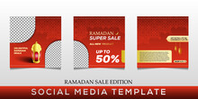 Set Of Ramadan Sale Social Media And Marketing Post. Social Media Banner Template. Ramadan Social Media Post Template With Blank Areas For Images Or Text.