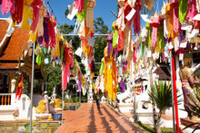 Multicolor Colorful Paper Lamp Traditional Lanna Style Yee Peng Or Lighting Lantern Tung Hang For People Respect Praying At Outdoor In Wat Pa Daraphirom Temple At Mae Rim City In Chiang Mai, Thailand
