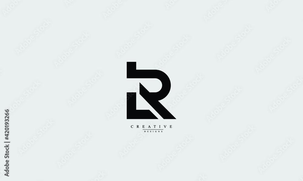 Fototapeta Alphabet letters Initials Monogram logo LR, RL, L, R