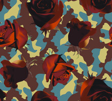 Fashionable Camouflage Brown And Blue Pattern With Brown Roses With Brown Leaves
