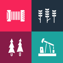 Set Pop Art Oil Pump Or Pump Jack, Christmas Tree, Wheat And Accordion Icon. Vector