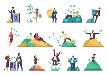 Rich People. Successful Characters Throwing Banknotes In Air. Millionaires With Safes And Bags Full Of Money. Cute Persons Sitting On Heaps Of Banknotes, Gold Bars Or Coins, Vector Set