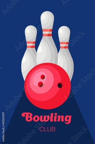 Bowling club. Bowling set. Vector illustration in flat style. Poster Mural XXL