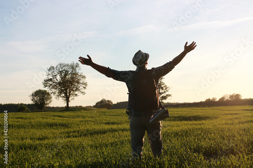 Man in casual clothes is a traveler in the open spaces