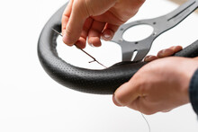 Replace The Car Steering Wheel Eco Leather Trim Material,