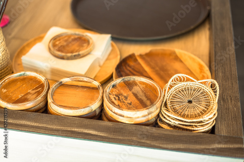 Fotografie, Obraz The blurred background of the chocolate ice cream cake is in the shape of various animals, giving a new twist to today's coffee shop or dessert shop menu