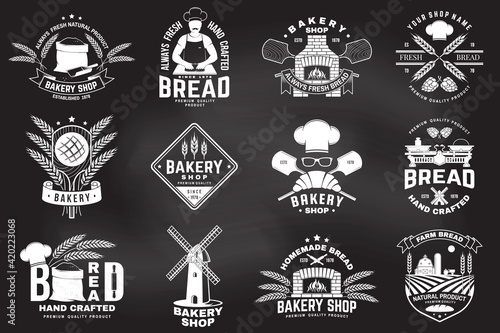 Fototapeta Set of Bakery shop badge. Vector Design with windmill, rolling pin, dough, wheat ears, old oven, wooden bread shovels silhouette. For restaurant, bakery identity objects, packaging menu obraz