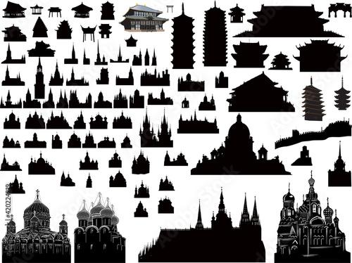 large black set of historical buildings on white