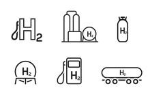 Hydrogen Energy Line Icon Set. Environment, Eco And Alternative Power Symbols