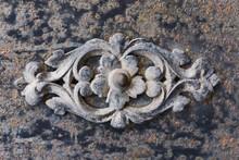 Metal Flower Ornament. Iron Decorative Texture. Black Smith Work Background. Rusty Metal Background. Black Steel Corroded Flower Shape.
