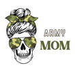 Female skull with aviator glasses and camouflage pattern. Army mom life skull. Vecto camo print. Messy bun. Military, patriotic ptint for shirt.
