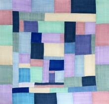 Korean Traditional Patchwork Background Of Ramie Fabric By Hand-made. Pastel Tone.